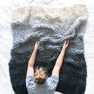 Chunky Gradient Ombre Fade Blanket Knitting Pattern