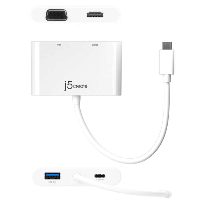 JCA175 USB-C™ to HDMI™ & VGA Adapter with USB™ 3.0/Power Delivery