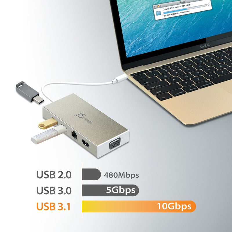 JCD376 USB-C™ 3.1 Fully functional Mini Dock-VGA/ HDMI™/ Ethernet/ USB™ 3.1 HUB/ PD2.0