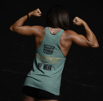 "Camiseta de tirantes mujer Edición Alex Anasagasti ""Mr WEAK - CF GAMES EDITION"" color verde militar"