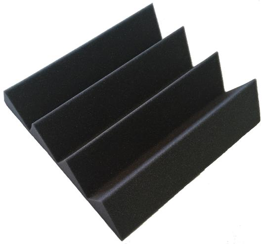 "SOUNDPROOFING ACOUSTICAL FOAM RECORDING STUDIOS 3"" X 12"" X 12"" CHARCOAL ACOUSTIC STUDIO WEDGE FOAM 48 PACK"