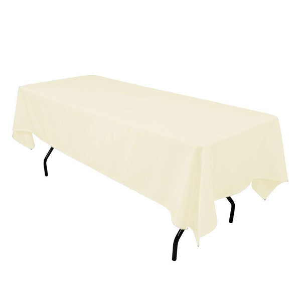"Rectangle Tablecloth - 60 x 102"" Inch - Ivory Rectangular Table Cloth for 6 Foot Table in Washable Polyester - Great for Buffet Table, Parties, Holiday Dinner, Wedding & More"