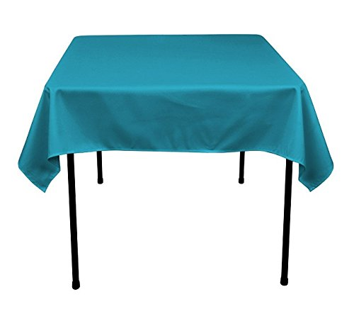 Square Tablecloth - 60 x 60 Inch - Turquoise Square Table Cloth for Square or Round Tables in Washable Polyester - Great for Buffet Table, Parties, Holiday Dinner, Wedding & More