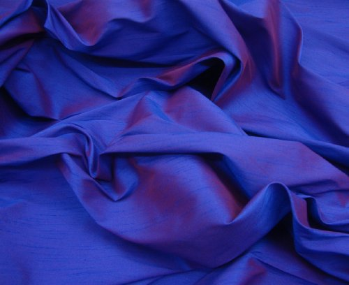 "Shantung Dupioni Faux Silk Fabric , sold by Yard, 58"" wide. Royal Blue"