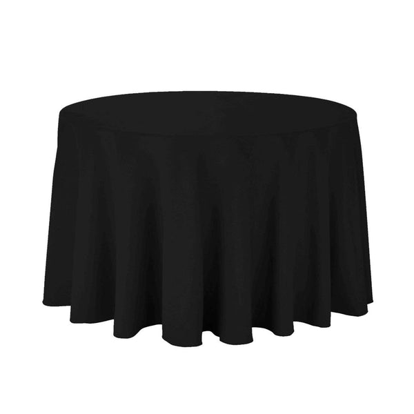 "108"" Inch Round Tablecloths for Circular Table Cover in Black Washable Polyester - Great for Buffet Table, Parties, Holiday Dinner & More"