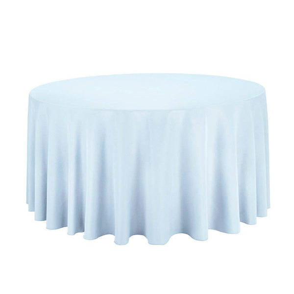"108"" Inch Round Tablecloths for Circular Table Cover in Baby Blue Washable Polyester - Great for Buffet Table, Parties, Holiday Dinner & More"