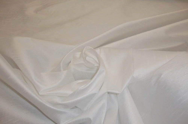 "Shantung Dupioni Faux Silk Fabric , sold by Yard, 58"" wide. ( White )"