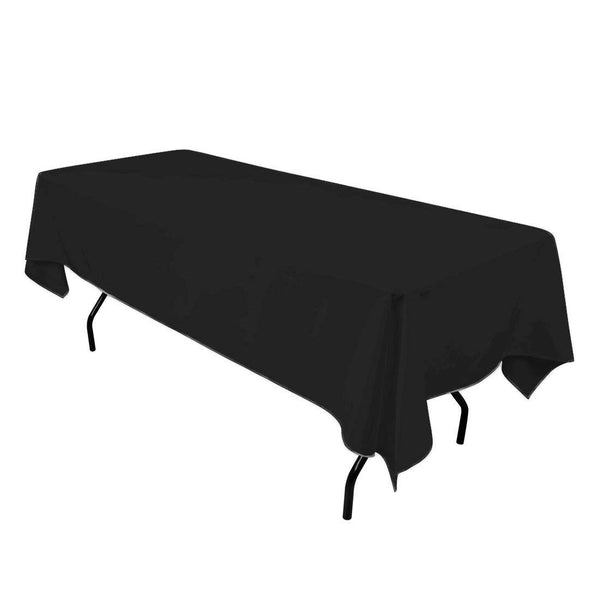 "Rectangle Tablecloth - 60 x 102"" Inch - Black Rectangular Table Cloth for 6 Foot Table in Washable Polyester - Great for Buffet Table, Parties, Holiday Dinner, Wedding & More"
