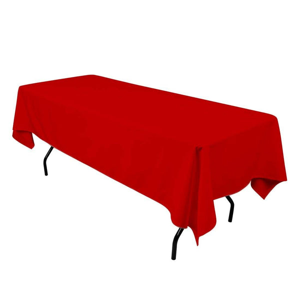 "Rectangle Tablecloth - 60 x 102"" Inch - Red Rectangular Table Cloth for 6 Foot Table in Washable Polyester - Great for Buffet Table, Parties, Holiday Dinner, Wedding & More"