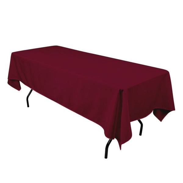 "Rectangle Tablecloth - 60 x 102"" Inch - Burgundy Rectangular Table Cloth for 6 Foot Table in Washable Polyester - Great for Buffet Table, Parties, Holiday Dinner, Wedding & More"