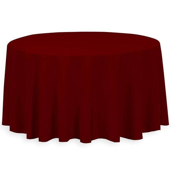 "108"" Inch Round Tablecloths for Circular Table Cover in Burgundy Washable Polyester - Great for Buffet Table, Parties, Holiday Dinner & More"