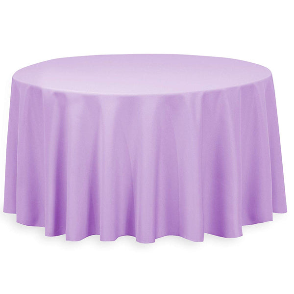 "108"" Inch Round Tablecloths for Circular Table Cover in Lavender Washable Polyester - Great for Buffet Table, Parties, Holiday Dinner & More"