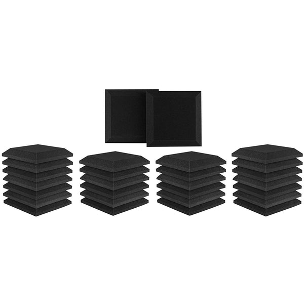 "Studio Acoustic Foam Bevel Panel 12"" x 12"" x 2"" Charcoal 28 Pack"