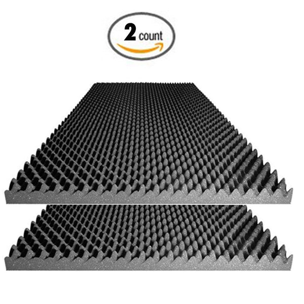 "Acoustic Foam 2.5"" Egg Crate Panel Studio Foam Wall Panel 48"" X 24"" X 2.5"" (2 Pack)"