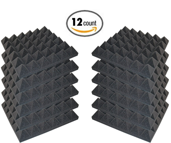 "12 Pack - Acoustic Foam Sound Absorption Pyramid Studio Treatment Wall Panels, 2"" X 12"" X 12"""
