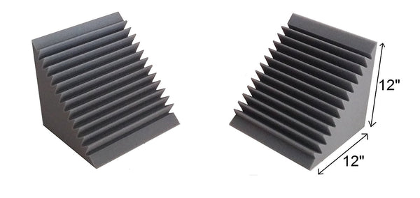 "Acoustic Foam Bass Trap Corner- 2 Pack 12"" X 12"" X 12"""