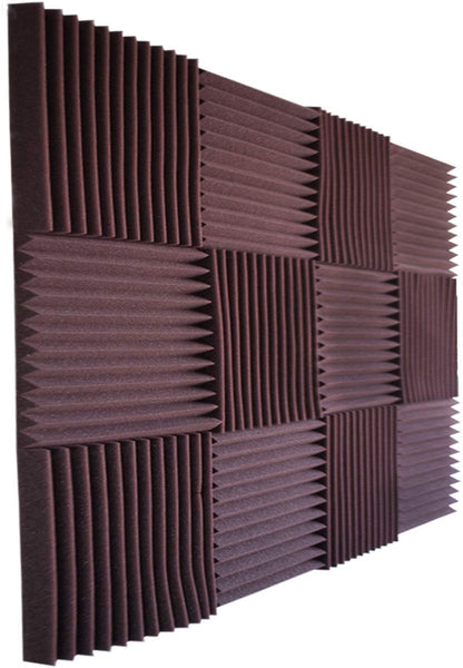 "Acoustic Panels Studio Foam Wedges 1"" X 12"" X 12"" ( 12 Pack ) Burgundy"