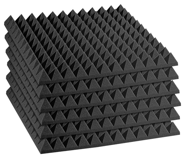 "Acoustics Studiofoam Pyramid Acoustic Absorption Foam, 2"" x 24"" x 24"", 24 Pack-Panels, Charcoal"