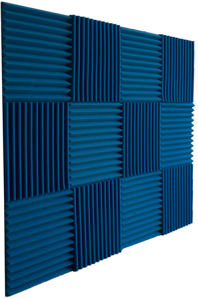 "Acoustic Panels Studio Foam Wedges 1"" X 12"" X 12"" ( 12 Pack ) Blue"