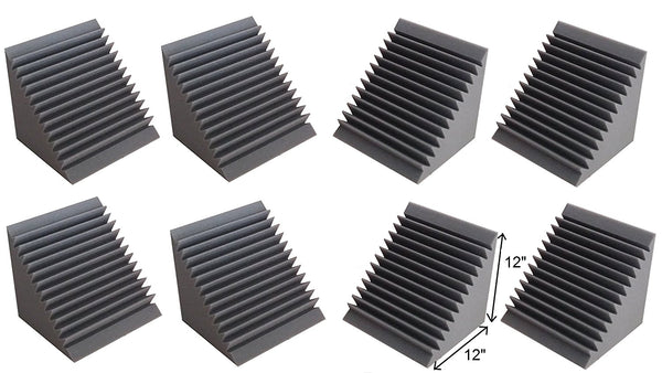 "Acoustic Foam Bass Trap Corner- 8 Pack 12"" X 12"" X 12"""