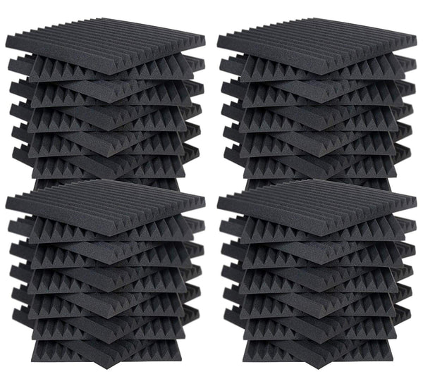 "(48 Pk) Charcoal 2""x12""x12"" Soundproofing Acoustic Studio Foam Wedge Style Panels Tiles - Top Quality - Ideal for Home & Studio Absorption Sound Insulation"