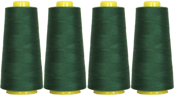 4-Pack of 6000 Yards (EACH) Serger Cone Thread All Purpose Sewing Thread Polyester Spools Overlock (Serger,Over lock, Merrow, Single Needle) HUNTER GREEN