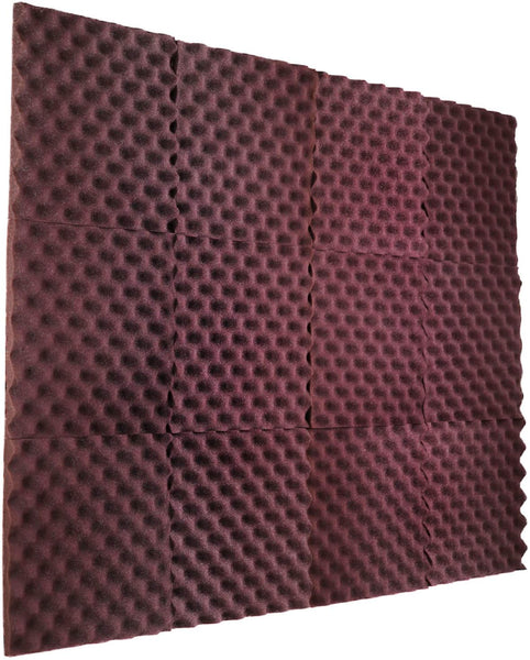 "Burgundy Acoustic Panels Studio Foam Egg Crate 1"" X 12"" X 12"" ( 12 Pack )"