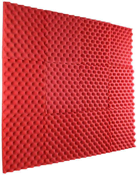 "Red Acoustic Panels Studio Foam Egg Crate 1"" X 12"" X 12"" (12 Pack )"