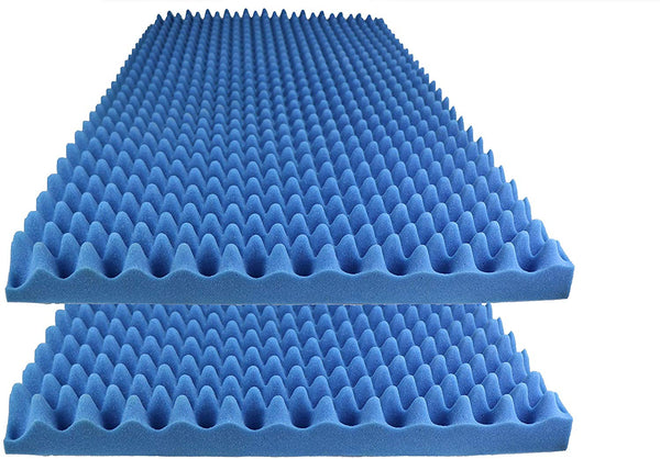 "Acoustic Foam Egg Crate Panel Studio Foam Wall Panel 48"" X 24"" X 2.5"" (2 Pack) Blue"