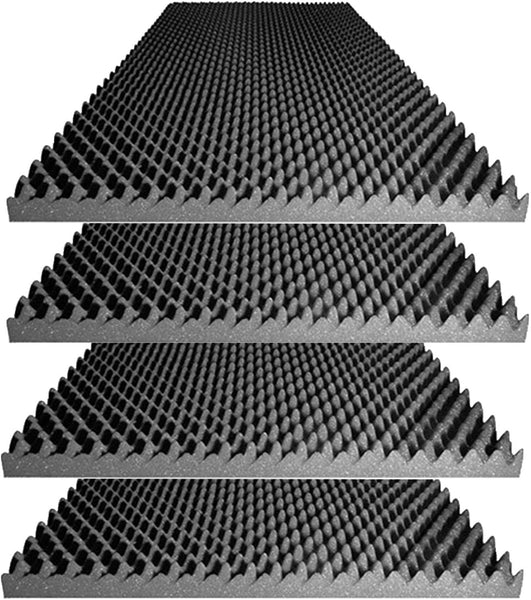 "Acoustic Foam Egg Crate Panel Studio Foam Wall Panel 48"" X 24"" X 2.5"" (4 Pack) Charcoal"