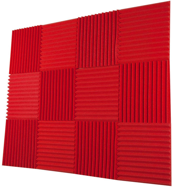 "Acoustic Panels Studio Foam Wedges 1"" X 12"" X 12"" ( 12 Pack ) Red"