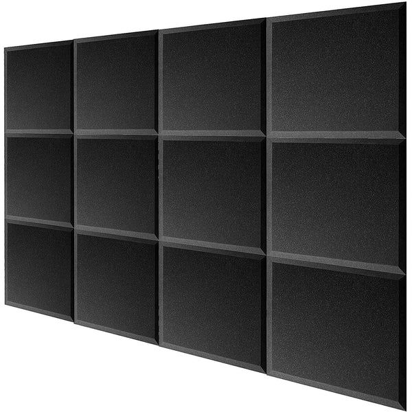 24 pack Acoustic Foam BEVEL Tiles Soundproofing Wall Panel 12 x 12 x 1 inch, Made in USA
