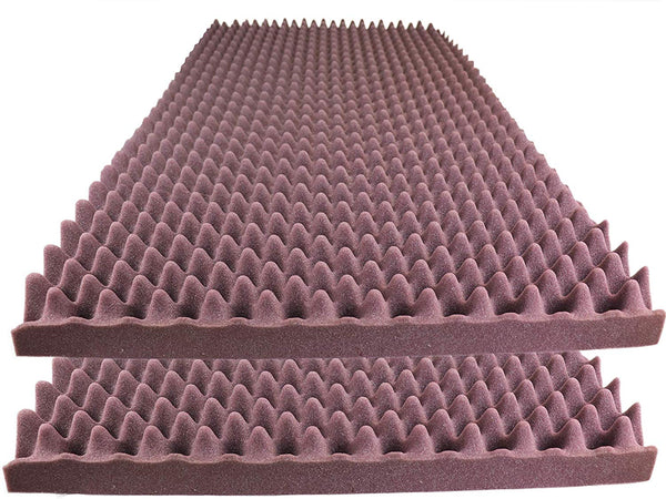 "Acoustic Foam Egg Crate Panel Studio Foam Wall Panel 48"" X 24"" X 2.5"" (2 Pack) Burgundy"