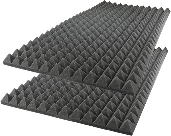 "Acoustic Foam Sound Absorption Pyramid Studio Treatment Wall Panel 48"" X 24"" X 2.5"" (2 Pack) Charcoal"