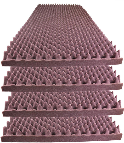 "Acoustic Foam Egg Crate Panel Studio Foam Wall Panel 48"" X 24"" X 2.5"" (4 Pack) Burgundy"