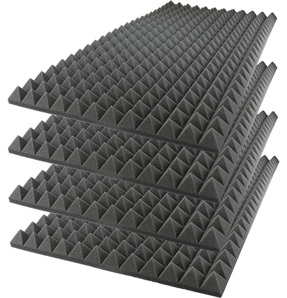 "Acoustic Foam Sound Absorption Pyramid Studio Treatment Wall Panel 48"" X 24"" X 2.5"" (4 Pack) Charcoal"