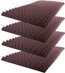"Acoustic Foam Sound Absorption Pyramid Studio Treatment Wall Panel 48"" X 24"" X 2.5"" (4 Pack) Burgundy"