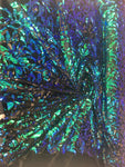2 Way Stretch Velvet Sequins Iridescent Sequin Fabric Floral Reversible Embroidery on Black Velvet 2 Way Stretch By Yard.Green/Blue/Black