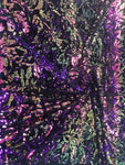 2 Way Stretch Velvet Sequins Iridescent Sequin Fabric Floral Reversible Embroidery on Black Velvet 2 Way Stretch By Yard.Purple/Pink/Green