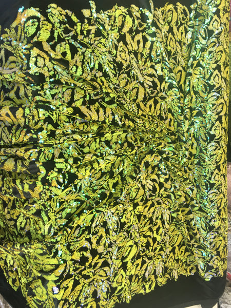 2 Way Stretch Velvet Sequins Iridescent Sequin Fabric Floral Reversible Embroidery on Black Velvet 2 Way Stretch By Yard.Mint/Yellow/Black