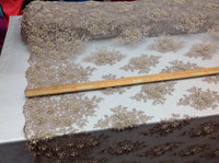 Floral Fabric 3D Flower Bridal Beaded Fabric Gold/Beige Heavy Embroidered Mesh Dress For Wedding Veil By The Yard
