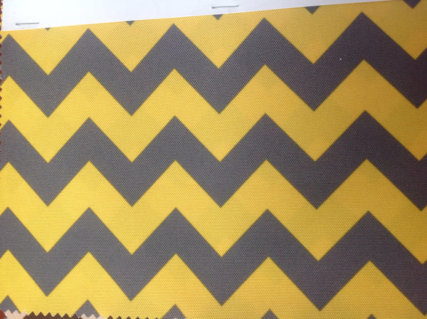 Zig Zag Chevron Canvas Outdoor Fabric Waterproof / Yellow/Gray / Sold By The Yard