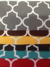 Load image into Gallery viewer, Moroccan Quatrefoil Canvas Outdoor Waterproof Fabric / Black / Sold By The Yard