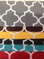 Moroccan Quatrefoil Canvas Outdoor Waterproof Fabric / Gray / Sold By The Yard