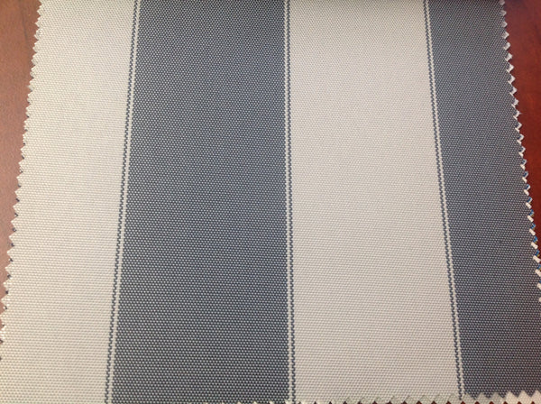 2 Tone Stripe Deck Canvas Outdoor Waterproof Fabric / DK Gray/ Light Gray / Sold By The Yard