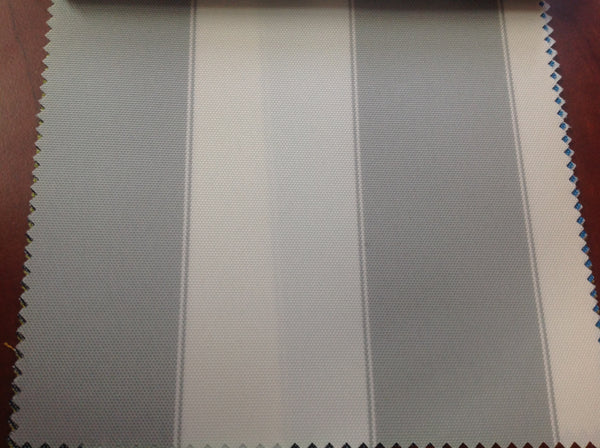 2 Tone Stripe Deck Canvas Outdoor Waterproof Fabric / Light Gray/ Ivory / Sold By The Yard