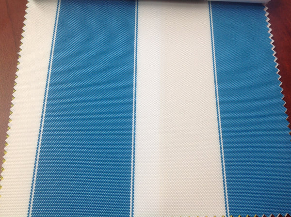 2 Tone Stripe Deck Canvas Outdoor Waterproof Fabric / Aqua/White / Sold By The Yard