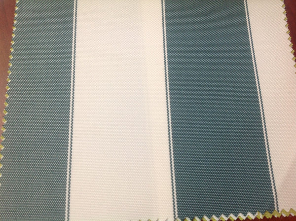 2 Tone Stripe Deck Canvas Outdoor Waterproof Fabric / Hunter Green/Off White / Sold By The Yard