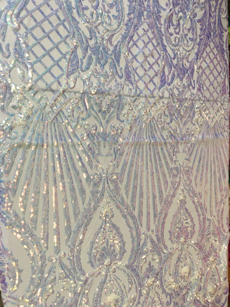 Mermaid Tail Sequins Designs Sold By The Yard White Iridescent 4 Way Stretch Fabric Sequins Fabric Embroidered Power Mesh Dress Top