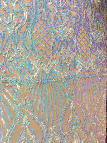 Mermaid Tail Sequins Designs Sold By The Yard Nude/Blue Iridescent 4 Way Stretch Fabric Sequins Fabric Embroidered Power Mesh Dress Top